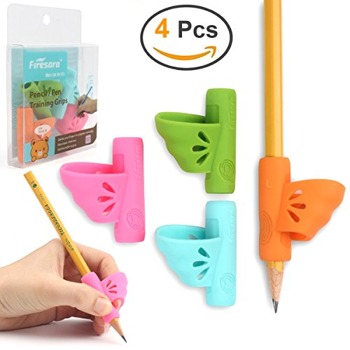 Mancino Matita Grip, Firesara Original Butterfly Pencil Holder Correction Writing Aid Grip for Kids Handwriting Special Needs Children Adult Lefties (4PCS)