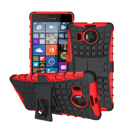 betterfon Microsoft Lumia 950 XL Rot Outdoor Hybrid Case Panzer Tasche Cover Silikon Handytasche Hülle SCHUTZ Schutzhülle Bumper +Gratis Bildschirmschutzfolie