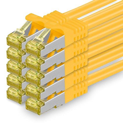 Cat.7 Netzwerkkabel 1m - Gelb - 10 Stück - Cat7 Ethernetkabel Netzwerk LAN Kabel Rohkabel 10 Gb/s (SFTP PIMF LSZH) Set Patchkabel mit Rj 45 Stecker Cat.6a Gelbe 10