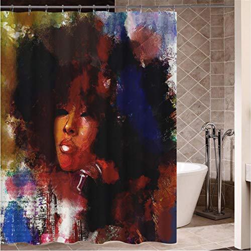 n Graffiti Kunst Hip Hop Afrikanische Mädchen Mit Schwarzen Haaren Großen Ohrring Mit Modernen Gebäude Duschvorhang Für Badezimmer Dekor 200X200Cm ()