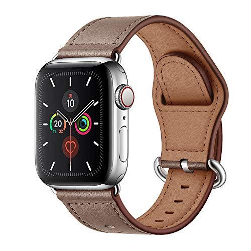 Arktis Armband [echtes Leder] kompatibel mit Apple Watch (Series 1, Series 2, Series 3 mit 38 mm) (Series 4, Series 5 mit 40 mm) Lederarmband mit Edelstahl Dornschließe und Adapter - Taupe