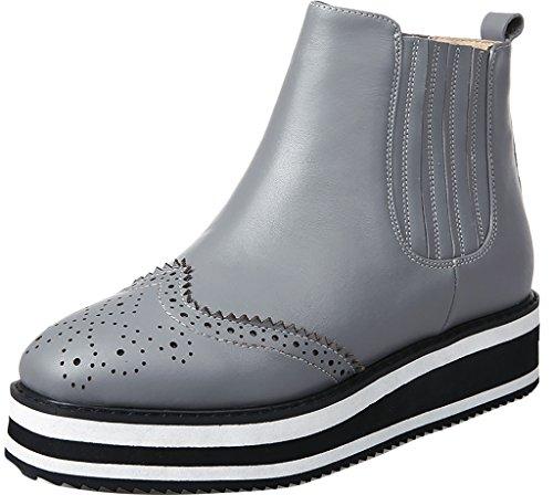 ELEHOT Donna Ele*evidentj senza tacco 5CM Leather Stivali, grigio, (Grigio Suede Piattaforma)