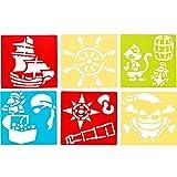 German Trendseller® - 6 x Piraten Mal-Schablonen┃ Zeichenschablone ┃ Piraten-Schiff ┃ Piraten Crew ┃ Mit diesen Vorlagen Lassen Sich die tollsten Piraten-Motive Kinderleicht Malen!