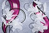 Foto tapiz mural con flores blancas lirios gráficos lirio florecen las flores Lirio de madona Abstract Modern familia de las liliáceas I foto-mural foto póster deco pared by GREAT ART 210 x 140 cm