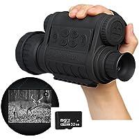 """Boblov Monoculaire Vision Nocturne Lunettes Vision Nocturne Jumelles Infrarouge de Vision Nocturne HD 720P 5MP 6x50 Zoom avec 1,5"""" Écran LCD (WG-50,Carte TF 32G)"""