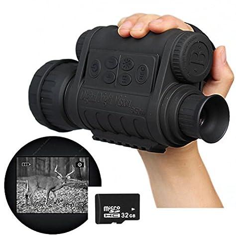 Boblov Monoculaire Vision Nocturne Lunettes Vision Nocturne Jumelles Infrarouge de Vision Nocturne HD 720P 5MP 6x50 Zoom avec 1,5