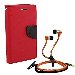Aart Fancy Diary Card Wallet Flip Case Back Cover For Nokia 640-(Red) + Zipper earphones/Hands free With Mic *Stylish Design* for all Mobiles By Aart store