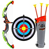 #3: Kids Toy Bow & Arrow Archery Set with Arrow Holder with Target Stand - LED Light up Function - Hunting Series Toy for Boys and Girls