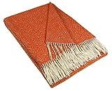 STTS International Wolldecke Plaid Wohndecke Kuscheldecke Plaid Decke Verona Orange