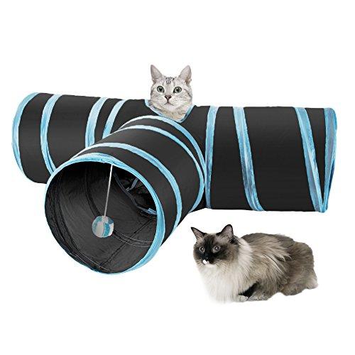 SlowTon Gato Túnel Juguete,3 Way Túnel de Gato Tubo de la Diversión Plegable Juguete Interactive Colector para Conejos Gatitos Cachorro Uso Interior y Exterior