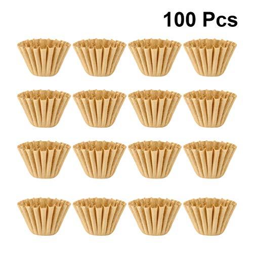 UPKOCH 100 Pcs Café Filtre Tasses Papier Filtres Panier pour La Cuisine à Domicile Restaurant Café Magasin Valentines Day Party Supplies (Kaki)