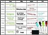 DF Creations Magnetischer Mahlzeitplaner, Kühlschrank Whiteboard, Aktivitätenplanung / Prüfungen / Aufgaben / Erinnerungen / Ernährung, Vier Farbmarkierungen und ein extra großer Tischwischer