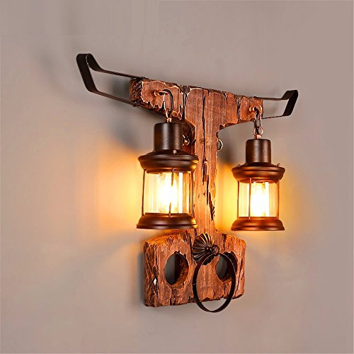 SADASD Loft Vintage aus massivem Holz Wand Light Industrial Wind personalisierte Kostüm Shop Cafe Pension Restaurant Gang (Lichter Für Led Batteriebetriebene Kostüme)
