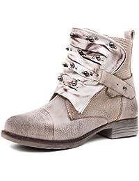 Marimo Damen Nieten Stiefel Biker Boots mit Schnallen Schnür Stiefeletten in  Lederoptik d348f9fedf