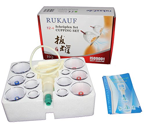HQ Massage Schröpfen Set mit 12 Schröpfgläser aus Kunststoff mit Magneten + Vakuumpumpe