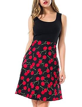 Verano Vestidos Mujer Moda Retro Impresión Patrón Splicing Corto Vestidos de Partido Coctel Fiesta Vacaciones...