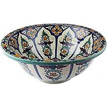 Lavandino da bagno Tetouan in ceramica dipinta a mano, stile