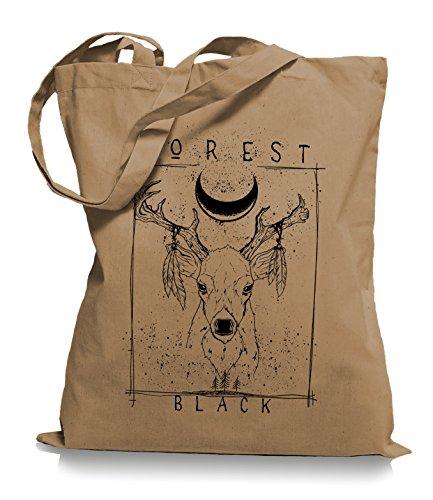 Ma2ca® Forrest Black Hirsch - Jutebeutel Stoffbeutel Tragetasche / Bag WM101 Caramell