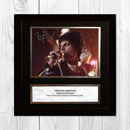 Freddie Mercury - Queen 1 NDW Signed Reproduction Autographed Wall Art - 10 inch x 10 inch Print (Black Frame) -