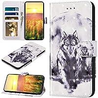 Robinsoni Funda Compatible con iPhone 11 Pro Max Funda Libro Billetera Funda Folio Flip Cuero Kickstand Funda Animal Impreso Cartera en Silicone Funda Estilo del Libro Interior de Silicona Funda Lobo