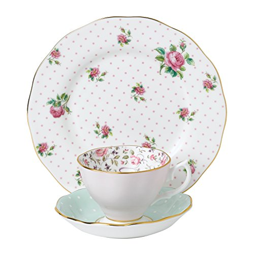 Royal Albert 40034972Modern Vintage Collection Teetasse, Untertasse, Teller, Rosa, Weiß Alte Rose Fine China