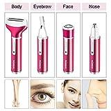 4 in 1 Elektrischer Damenrasierer mit USB Ladung, Nass und Trockenrasur, Lovebay Ladyshaver für Gesicht und Körper - Bikinizone/Beine/Augenbrauen/Nase/Achsel, Epilierer Trimmer für Frauen