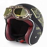 EDW Open-Gesichts-Motorrad-Sturzhelm-DOT Certified 3/4 Retro Mofa Motorrad Bobber Biker Pilot...