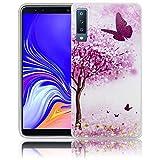 thematys Passend für Samsung Galaxy A7 2018 Kirschblütenbaum Schmetterling Handy-Hülle Silikon - staubdicht stoßfest