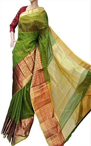 Riaa Collection Women's KOTA Semi- Silk Hand Woven Ethnic Saree (RIAA-KO3015_ Green/Red)
