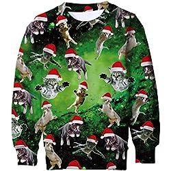 Funnycokid Teenagers Christmas Jumper Elf Jumper Sudadera 3D Estampado Gráfico Ciervo Ciervo Sweater Ugly X-mas Disfraces