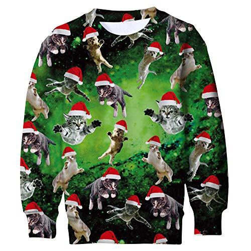 fc62f6b83db Funnycokid Teenagers Christmas Jumper Elf Jumper Sudadera 3D Estampado  Gráfico Ciervo Ciervo Sweater Ugly X-