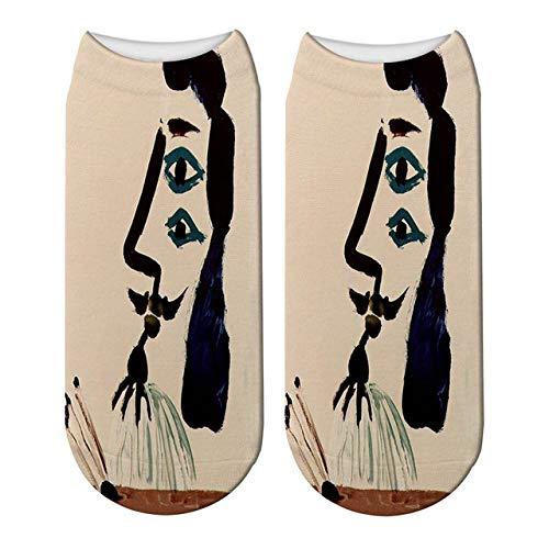 QXCWZ 3 Paare Frauen 3D Gedruckt Picasso Abstrakte Büste Mann Gesicht Malerei Kurze Söckchen 1
