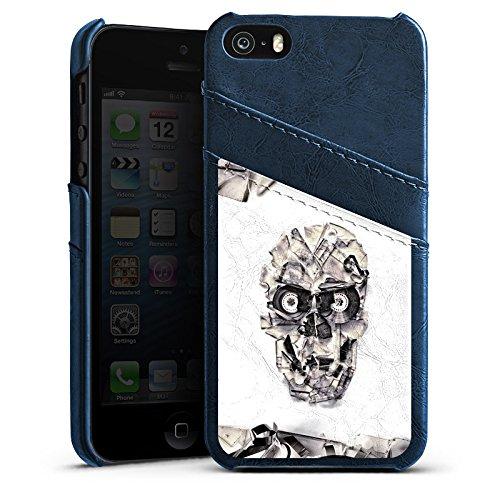 Apple iPhone 6 Housse Étui Silicone Coque Protection Crâne Tête de mort Crâne Étui en cuir bleu marine