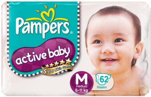 PAMPERS ACTIVE BABY DIAPERS - MEDIUM - 62 (6-11KG)