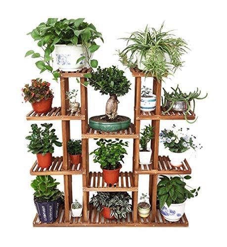 Garten-Dekorations-hölzernes Fach mit 5 Reihen Antikorrosions-fester hölzerner Blumen-Topf steht / mehrstöckige hölzerne Präsentationsständer / für Wohnzimmer-Blumen-Regal Innen- und Außenboden steht -