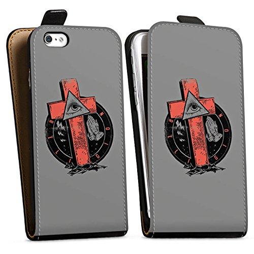 Apple iPhone X Silikon Hülle Case Schutzhülle Kreuz Auge illuminati Gothic Downflip Tasche schwarz