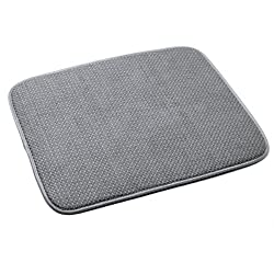 Primeway RIB Microfiber Dish Drying Mat, 18 X 14.5 inch, Grey