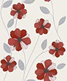 #4: Excel Wallpapers Floral Petals Paperback-OFFWHITE & RED-57 SQFT