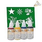 Set Airbrush Farben–Set Airbrush Farben/Set Airbrush Stencils mit 4Farben und 6Stencils für Airbrush Kompressor Airbrush Kompressor/Airbrush Pistole Airbrush Pistole