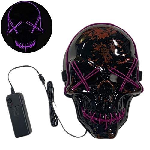 XUEE Halloween LED Maske, Männer/Frauen verdrahtete schreckliches Skelett LED leuchten Maske für Halloween-Kostüm-Partei-Modeschau (Lila Mann Kostüm Kinder)