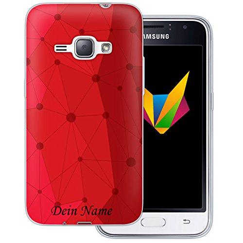 Mobilefox Grafik mit Namensdruck transparente Silikon TPU Schutzhülle 0,7mm dünne Handy Soft Case für Samsung Galaxy J1 (2016) Grafik Atomium Rot