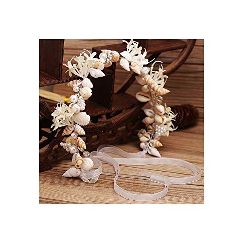 Haarschmuck für Braut, handgefertigt, mit Perlen, Muschel, Kristall -
