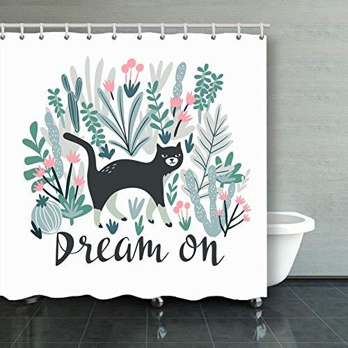 Qian Mu888 Fabric Bathroom Decoration Set with Hook Tropical Print Tshirt cat Desert Animals Wildlife cat Animals Wildlife Objects cat Objects 60x72 in - Woodsy Owl T-shirt