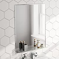 Soak Espejo de baño de 600 x 800 con balda de cristal