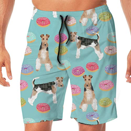 Wire Fox Terriers Dog Breed Donuts Surfing Pocket Elastic Waist Men's Beach Pants Shorts Beach Shorts Swim Trunks Small