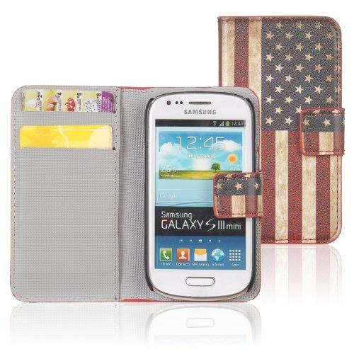 tinxi® Kunstleder Tasche für Samsung Galaxy S3 Mini I8190 Tasche Flipcase Tasche Etui Case Cover mit Karten Slot retro USA Amerika Flagge (S3 Mini-usa)