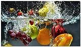 Wallario Herdabdeckplatte/Spritzschutz aus Glas, 3-teilig, 90x52cm, für Ceran- und Induktionsherde, Früchte im und unter Wasser - Splashing Fruits