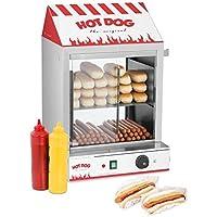 Royal Catering Cuoci Hot Dog con 11 Rulli e Cassetto Scaldavivande Acciaio inox