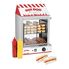 Idea Regalo - Royal Catering Macchina per Hot Dog a Vapore Macchina Hot Dog Maker RCHW 2000 (2000 W, Capacità: 200 salsicce, 50 panini, Intervallo di temperatura 30-110 °C, Valvola di scarico) Acciaio Inox