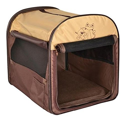 Hundetransportbox-Hundebox-faltbar-Transportbox-Autotransportbox 45 x 35 x 40cm Braun